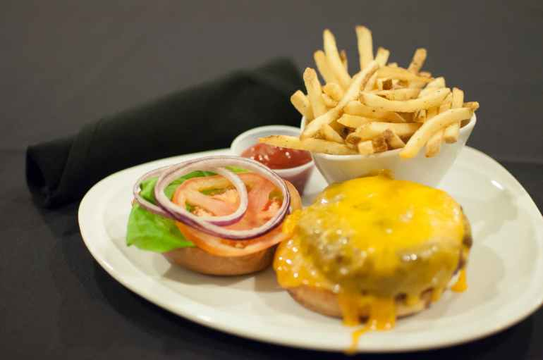 hamburger cheeseburger burger french fries